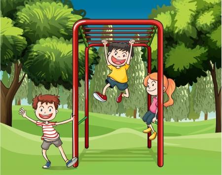 ni�os jugando parque: Ilustraci?n de los tres ni?os jugando en el parque Vectores