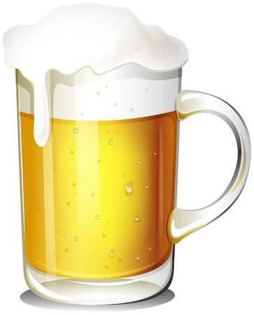 Illustration von einem Glas kaltes Bier auf einem weißen Hintergrund