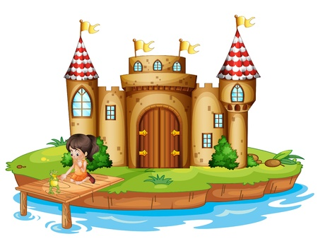 Illustration of a girl sitting with a frog in front of a castle on a white background