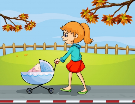 baby picture: Illustration of a girl pushing a stroller with a sleeping baby Illustration