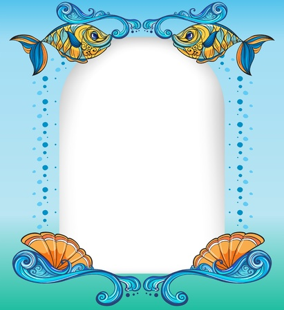 seafoods: Illustration of an empty template with the sea creatures Illustration