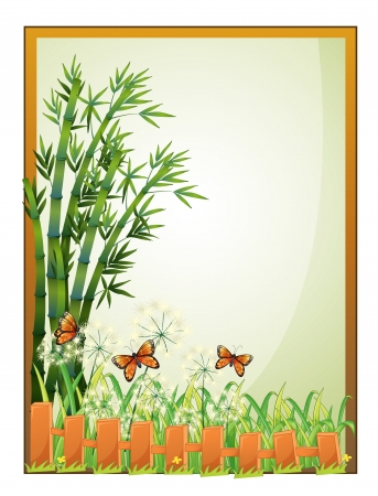 drawing board: Illustration of a frame with bamboo plants and butterflies on a white background Illustration