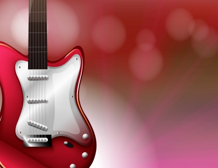 plucking an instrument: Illustration of a red electric guitar Illustration