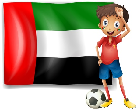 arab flags: Illustration of the UAE flag and the male athlete on a white background