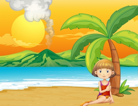 cartoon volcano: Illustration of a girl holding a book at the seashore