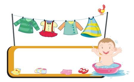 Illustration d'un modèle vide à côté d'un bébé dans une cuvette sur un fond blanc Vecteurs