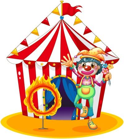 fire ring: Ilustraci�n de un anillo de fuego y un payaso delante de una carpa de circo en un fondo blanco