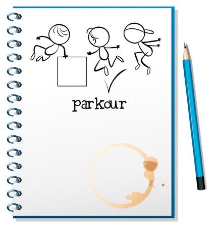 parkour: Ilustraci�n de un cuaderno con un dibujo de un entrenamiento de parkour en la portada sobre un fondo blanco
