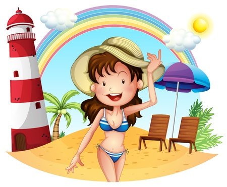 Illustration of a girl enjoying summer on a white background Vector