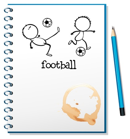 Illustration of a notebook with a football design on a white background Stock Vector - 18789146