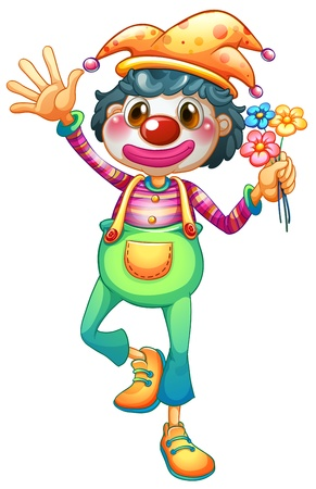 Illustration of a female clown with three flowers on a white background Vector