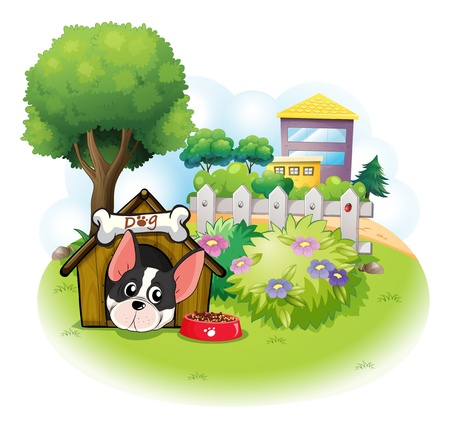 establishments: Illustration of a dog with a doghouse across the high buildings on a white background