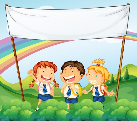 Illustration of an empty banner above the three young students Vector