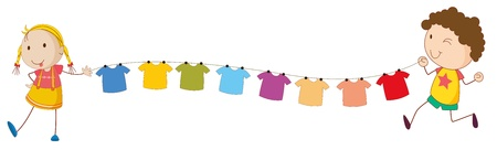 clothes hanging: Illustration of the kids holding the tips of the wire for the hanging clothes on a white background