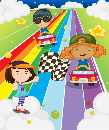 car leaf: Illustration of a car race at the colorful road