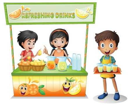 vendors: Illustration of the kids at the stall selling refreshing drinks on a white background