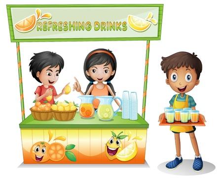 bancarella: Illustrazione dei bambini presso la bancarella che vende bevande rinfrescanti su uno sfondo bianco