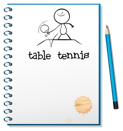 Illustration of a notebook with a sketch of a table tennis player on a white background Vector