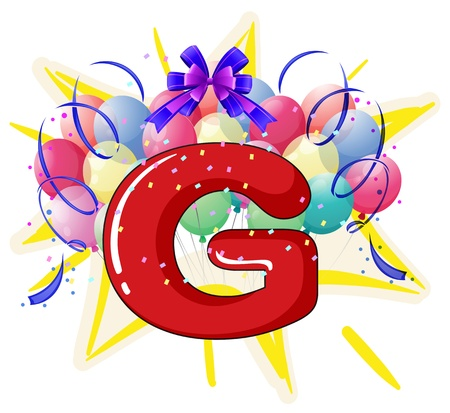 Illustration of balloons and celebration behind letter Stock Vector - 18789265