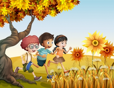 children group: Illustration of the children running at the hill with sunflowers