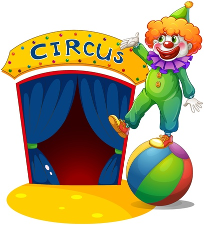 Illustration of a clown at the top of a ball presenting the circus house on a white background Vector