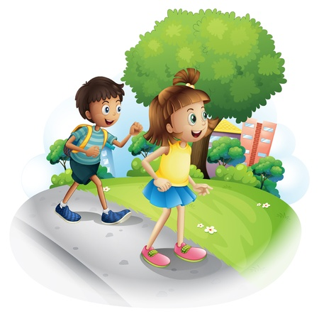 establishments: Illustration of a girl and a boy walking along the street  on a white background