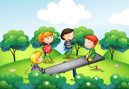 Illustration of the four kids playing with the seesaw at the hill Vector