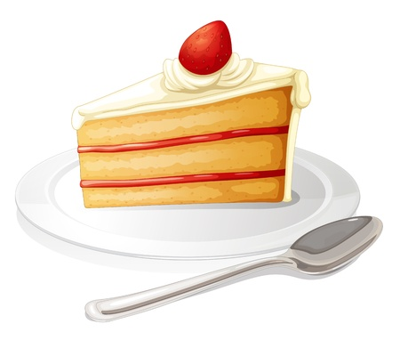 Illustration of a slice of cake with white icing in a plate on a white background Vector