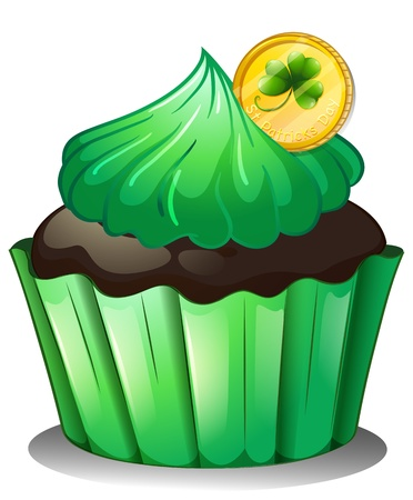 Illustration of a chocolate cupcake with a coin at the top on a white background Vector