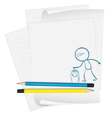 Illustration of a paper with a sketch of a basketball player on a white background Stock Vector - 18789125