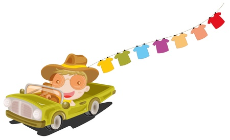 wet clothes: Illustration of a man in a car in front of the hanging clothes on a white background