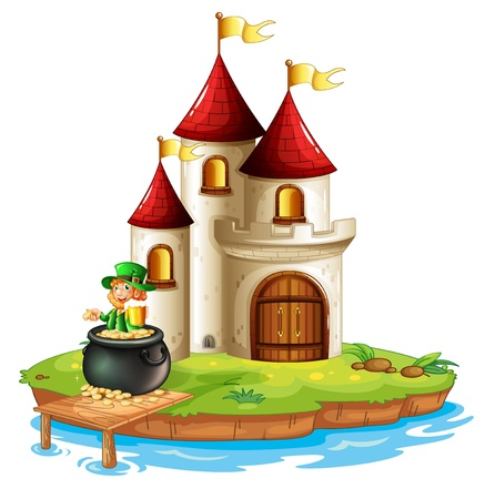 Illustration of a man inside a pot of gold in front of the castle on a white background Stock Vector - 18789499