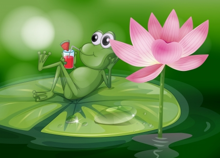 Illustration of a frog above the waterlily Vector