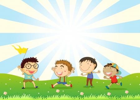 čtyři lidé: Ilustrace z chlapců hrajících v kopci