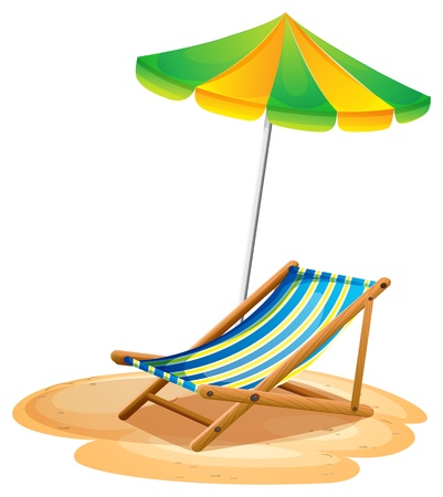 foldable: Illustration of a bench with a summer umbrella on a white background  Illustration