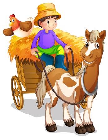 cartoon farmer: Illustration of a farmer riding in his wooden cart with a horse and a chicken on a white background