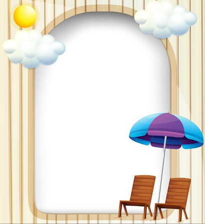 Illustration of an empty entrance template with a beach umbrella and chairs Vector