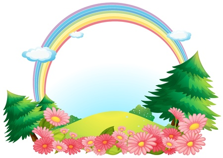 Illustration of the colorful rainbow at the hilltop on a white background