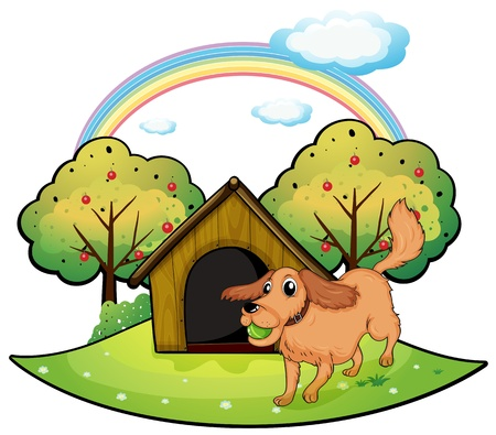 picure: Illustration of dog playing outside the doghouse near the apple tree on a white background Illustration