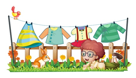 hanging clothes: Illustration of a boy and a bunny in a garden with hanging clothes on a white background Illustration