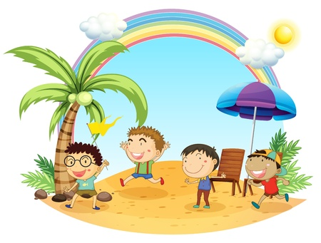 multiple image: Illustration of the four boys having an outing at the beach on a white background