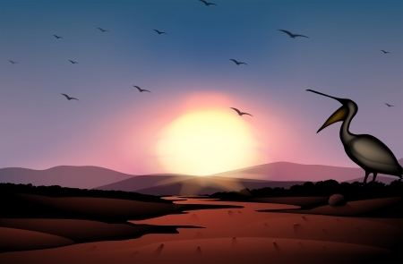 Illustration of a sunset at the desert with a flock of birds Vector