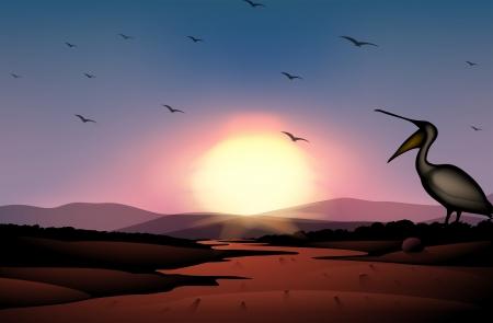 birds desert: Illustration of a sunset at the desert with a flock of birds