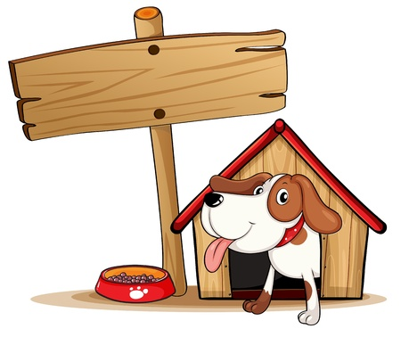 dog kennel: Illustration of a signage beside a doghouse on a white background