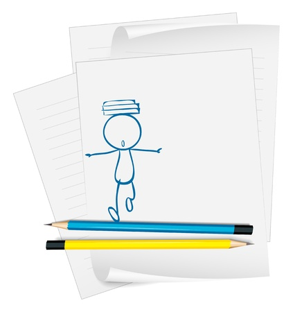 Illustration of a paper with a sketch of a boy with books above his head on a white background