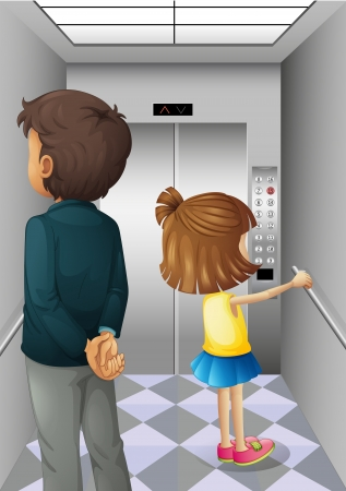 establishments: Illustration of an elevator with a man and a young girl