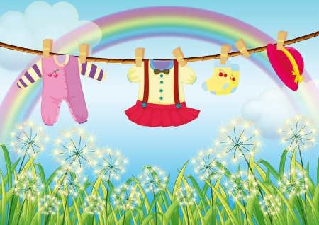 Illustration of the kids clothes hanging near the grass