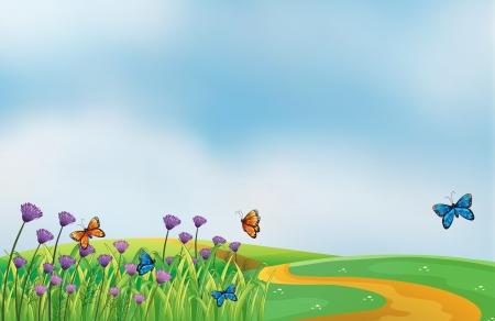 natureal: Illustrazione di un paesaggio in cima alla collina Vettoriali