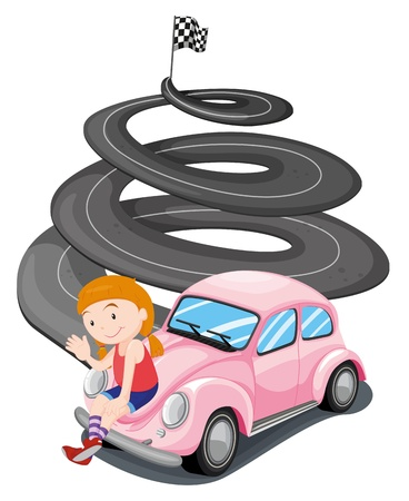 drawings image: Illustration of a girl and her pink racing car on a white background