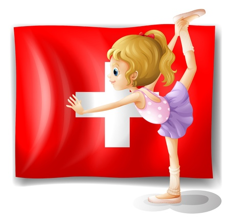 swiss insignia: Illustration of the flag of Switzerland and the young ballet dancer on a white background